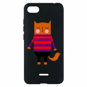 Phone case for Xiaomi Redmi 6A Red cat in a sweater - PrintSalon