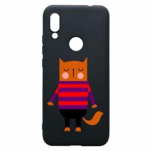 Phone case for Xiaomi Redmi 7 Red cat in a sweater - PrintSalon