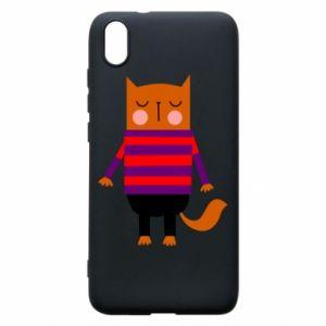 Phone case for Xiaomi Redmi 7A Red cat in a sweater - PrintSalon