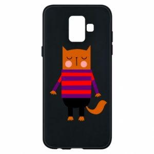 Phone case for Samsung A6 2018 Red cat in a sweater - PrintSalon