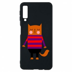 Phone case for Samsung A7 2018 Red cat in a sweater - PrintSalon