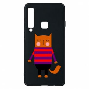 Phone case for Samsung A9 2018 Red cat in a sweater - PrintSalon