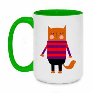 Kubek dwukolorowy 450ml Red cat in a sweater