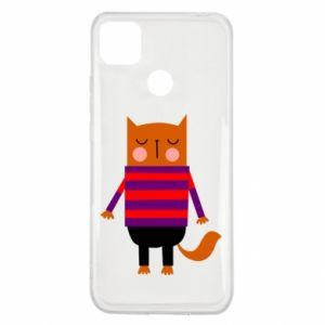 Etui na Xiaomi Redmi 9c Red cat in a sweater