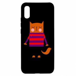 Etui na Xiaomi Redmi 9a Red cat in a sweater