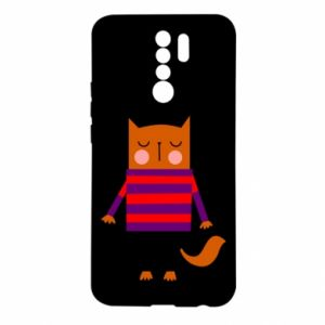 Etui na Xiaomi Redmi 9 Red cat in a sweater