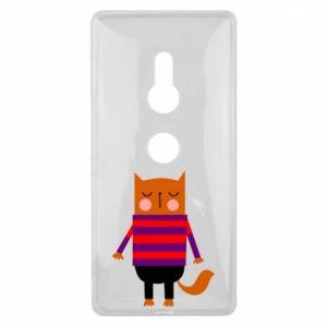 Etui na Sony Xperia XZ2 Red cat in a sweater