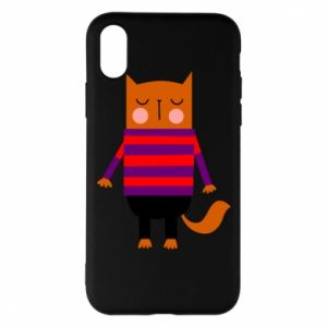 Phone case for iPhone X/Xs Red cat in a sweater - PrintSalon