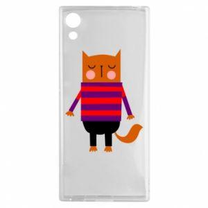 Etui na Sony Xperia XA1 Red cat in a sweater