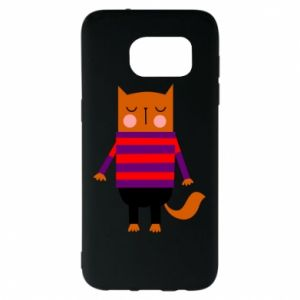 Etui na Samsung S7 EDGE Red cat in a sweater