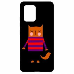 Etui na Samsung S10 Lite Red cat in a sweater