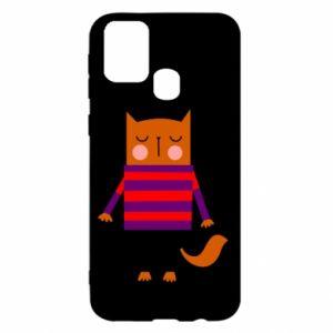 Etui na Samsung M31 Red cat in a sweater