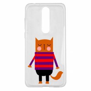Etui na Nokia 5.1 Plus Red cat in a sweater