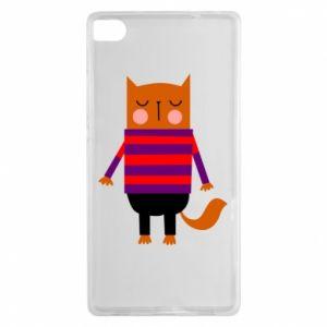 Etui na Huawei P8 Red cat in a sweater