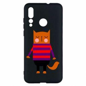 Etui na Huawei Nova 4 Red cat in a sweater