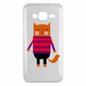 Phone case for Samsung J3 2016 Red cat in a sweater - PrintSalon