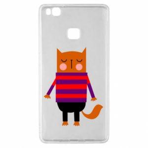 Etui na Huawei P9 Lite Red cat in a sweater