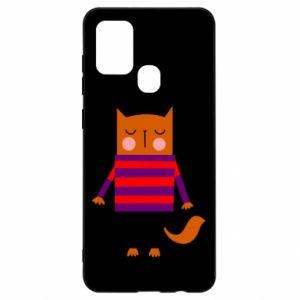 Etui na Samsung A21s Red cat in a sweater