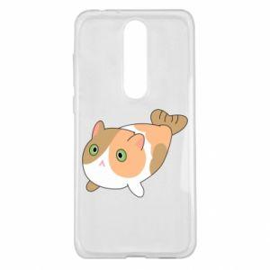 Etui na Nokia 5.1 Plus Red cat mermaid