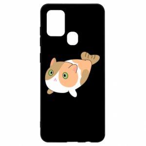 Etui na Samsung A21s Red cat mermaid