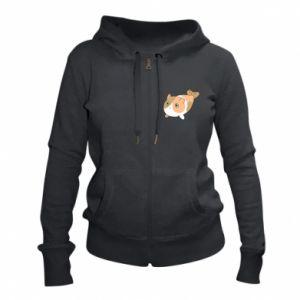 Women's zip up hoodies Red cat mermaid - PrintSalon