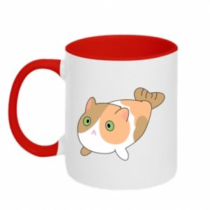 Two-toned mug Red cat mermaid - PrintSalon