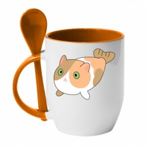 Mug with ceramic spoon Red cat mermaid - PrintSalon