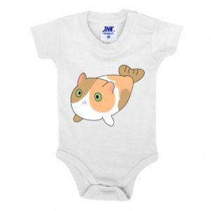 Baby bodysuit Red cat mermaid - PrintSalon