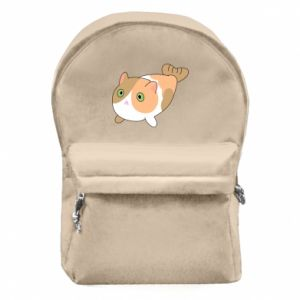 Backpack with front pocket Red cat mermaid - PrintSalon