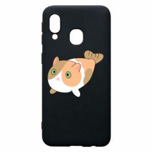 Phone case for Samsung A40 Red cat mermaid - PrintSalon