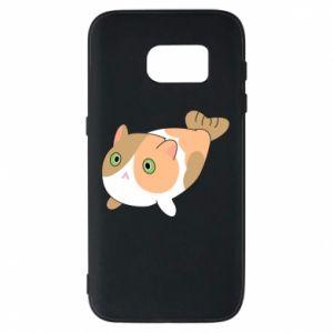 Phone case for Samsung S7 Red cat mermaid - PrintSalon