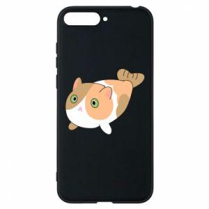 Phone case for Huawei Y6 2018 Red cat mermaid - PrintSalon