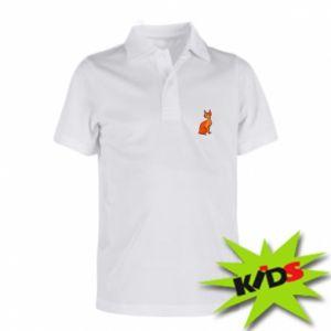 Dziecięca koszulka polo Red eared cat - PrintSalon