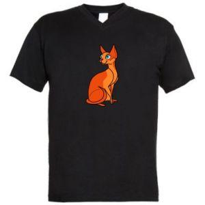 Męska koszulka V-neck Red eared cat - PrintSalon