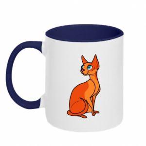 Kubek dwukolorowy Red eared cat - PrintSalon