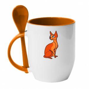 Kubek z ceramiczną łyżeczką Red eared cat - PrintSalon