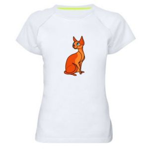 Damska koszulka sportowa Red eared cat - PrintSalon