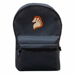Backpack with front pocket Red horse