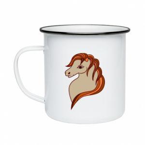 Enameled mug Red horse