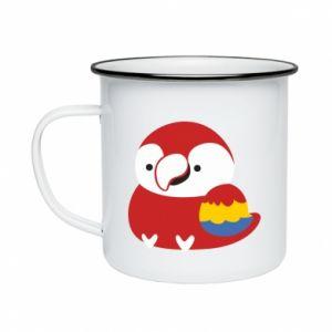 Kubek emaliowany Red parrot