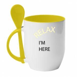Kubek z ceramiczną łyżeczką Relax. I'm here
