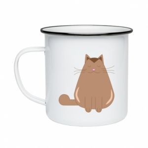Enameled mug Relaxing cat - PrintSalon