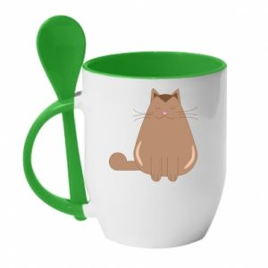 Mug with ceramic spoon Relaxing cat - PrintSalon