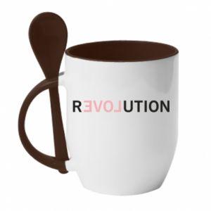 Kubek z ceramiczną łyżeczką Revolution