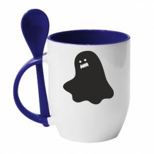 Mug with ceramic spoon Ridiculous ghost - PrintSalon