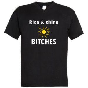 Męska koszulka V-neck Rise and shine bitches