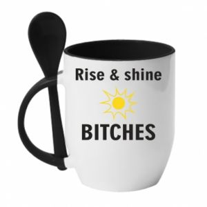 Mug with ceramic spoon Rise and shine bitches