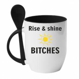 Kubek z ceramiczną łyżeczką Rise and shine bitches