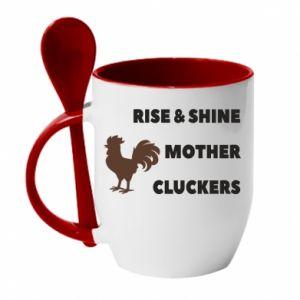 Kubek z ceramiczną łyżeczką Rise and shine mother cluckers