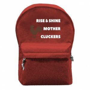Plecak z przednią kieszenią Rise and shine mother cluckers